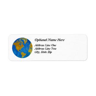 Vivid Globe Featuring the Americas Return Address Label