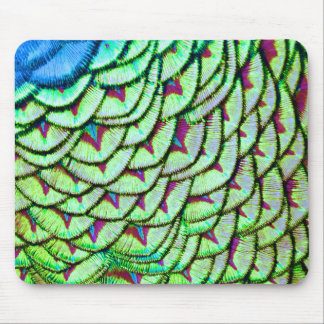 Vivid green breast feathers mouse pad