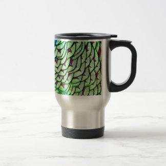 Vivid green breast feathers travel mug