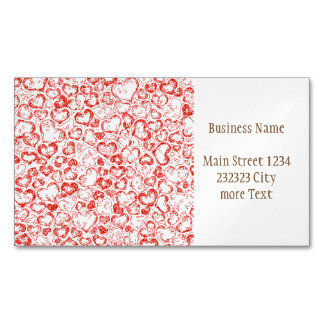 Vivid Hearts, red Magnetic Business Card