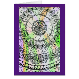 Vivid ink graphics on soft watercolor greeting card