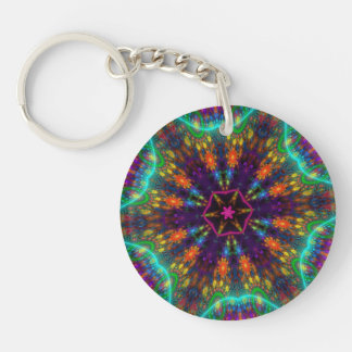 Vivid Kaleidoscope Double-Sided Round Acrylic Key Ring