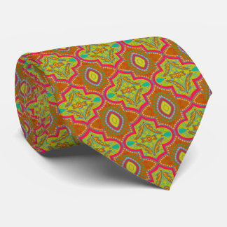 Vivid lattice print necktie