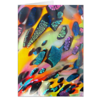 Vivid multicolored blown glass greeting card