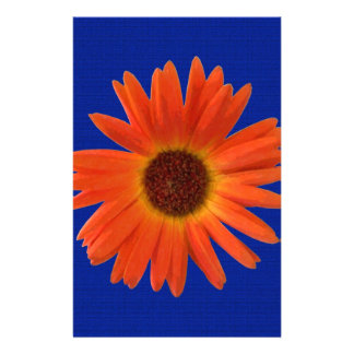 Vivid Orange and Yellow Gerbera Daisy in Abstract Customized Stationery