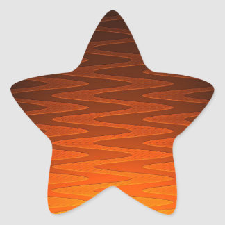 Vivid Orange Zigzag Modern Art Star Sticker