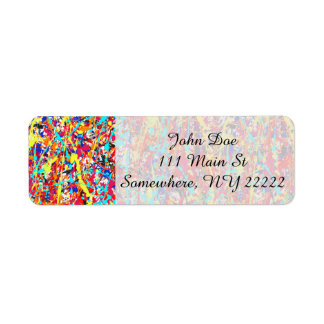 Vivid Paint Splatter Abstract Return Address Label