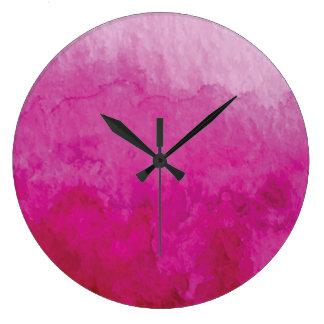 Vivid Pink Abstract Watercolor Large Clock