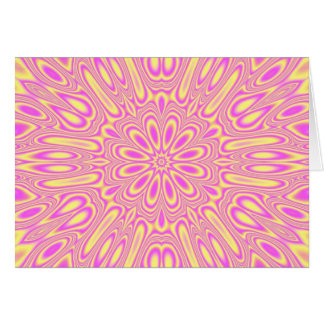 Vivid Pink/Yellow kaleidoscope Pattern Greeting Card