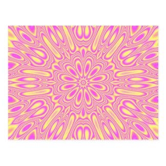 Vivid Pink/Yellow kaleidoscope Pattern Postcard