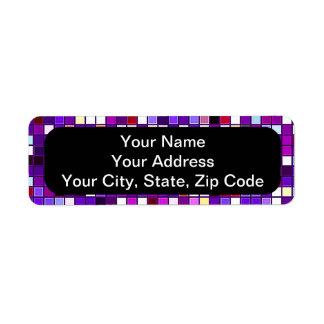Vivid Purple Multicolored Square Tiles Pattern Return Address Label