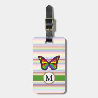 Vivid Rainbow Butterfly & Stripes Custom Monogram Luggage Tag