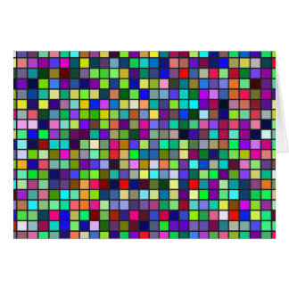 Vivid Rainbow Colors And Pastels Squares Pattern Card