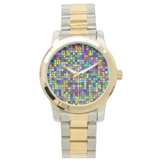 Vivid Rainbow Colors And Pastels Squares Pattern Watch