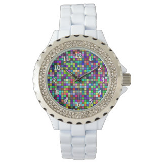 Vivid Rainbow Colors And Pastels Squares Pattern Wristwatches