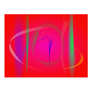 Vivid Red Abstract Bamboo Thicket Postcard