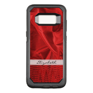 : Vivid Red Faux Metallic Lame' Fabric OtterBox Commuter Samsung Galaxy S8 Case