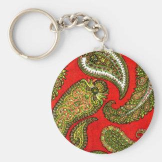 Vivid Red Indian Paisley Basic Round Button Key Ring