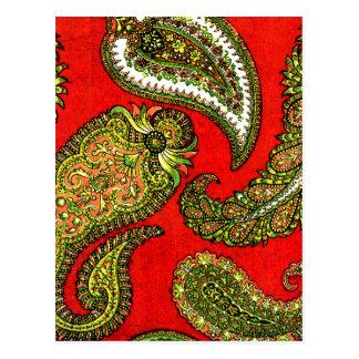 Vivid Red Indian Paisley Postcard