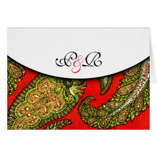 Vivid Red Paisley Monogrammed Note Card