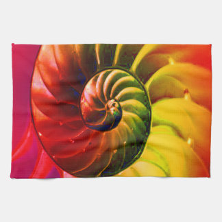 Vivid Seashell Swirly In Techno Color Towels