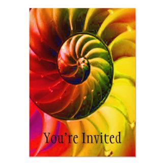 Vivid Seashell Swirly In Techno Colour 13 Cm X 18 Cm Invitation Card