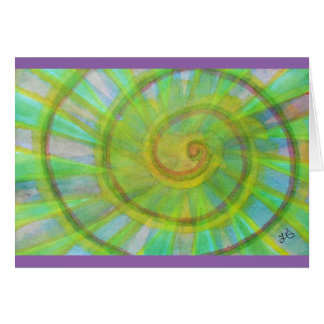 Vivid spiral and kaleidoscope watercolor greeting card