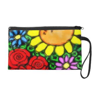 Vivid Sunflower & Roses Watercolor Garden Wristlet