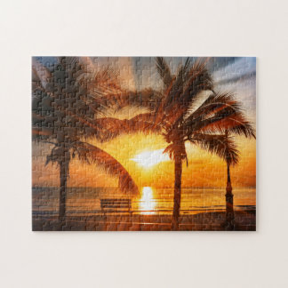 Vivid Tropical Sunset Jigsaw Puzzle