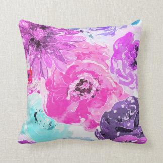 Vivid Violet Bold Floral Flowers Pink Purple Chic Cushion