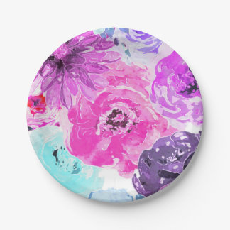 Vivid Violet Bold Floral Flowers Pink Purple Chic Paper Plate