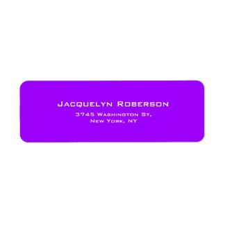 Vivid Violet Plain Elegant Contemporary Unique Return Address Label