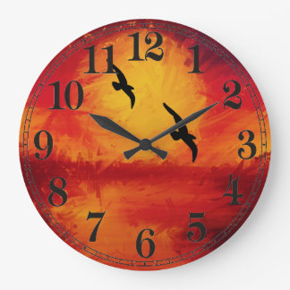 Vivid Watercolor Sunset with Birds Wall Clock