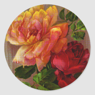 Vivid Yellow and Red Roses Round Sticker