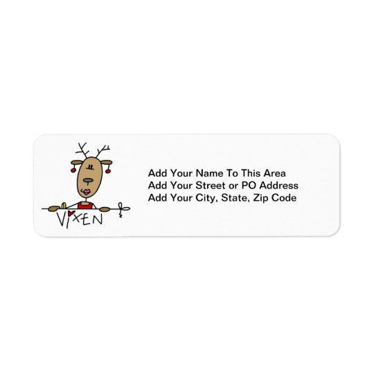 Vixen Reindeer Christmas Tshirts and Gifts Return Address Label