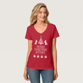 Vizor Merry Christmas Bitches Ugly Christmas! T-Shirt