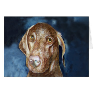 Vizsla Greeting Card with matching Postage Stamp