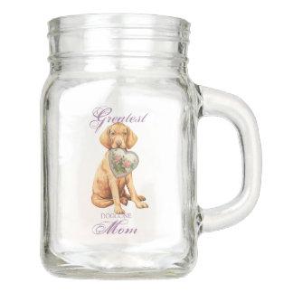 Vizsla Heart Mom Mason Jar