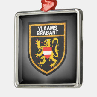 Vlaams-Brabant Flag Silver-Colored Square Decoration