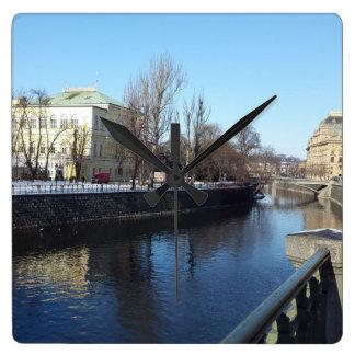 Vltava Riverbank in Prague Clock