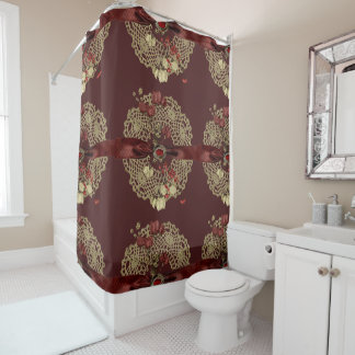 Vntage Flowers and Lace Shower Curtain