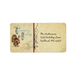 Vntage Font Thanksgiving Greeting Antique Postcard Address Label