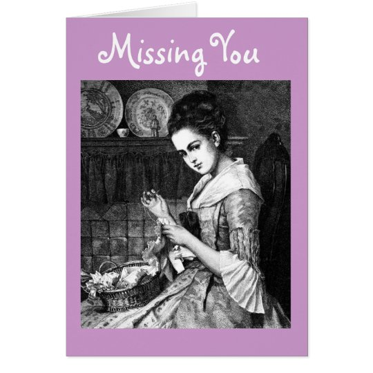Vntage Image of Lady Sewing Greeting Card