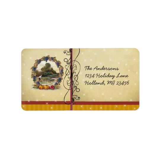Vntage Vineyard Harvest Scene Antique Postcard Address Label