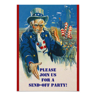 Vntg Uncle Sam Military Send Off Party Invitations