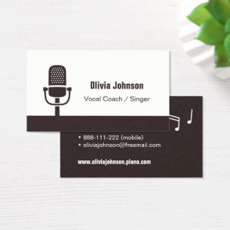 Vocal Coach Singer Microphone Icon Business Cards