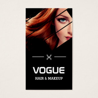 Vogue Girl Stylish Black White Fashion Hairstylist Business Card
