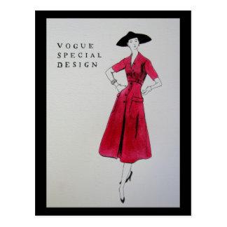 Vogue Red Dress 1953 Postcard