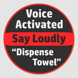 Voice Activated Paper Towel Dispenser Round Sticker