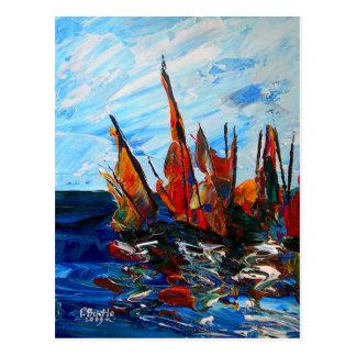 Voiliers au port a bainet 2009 postcard